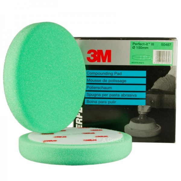 3M Perfect-it III Polierschaum Polierschwamm grün 150mm glatt 50487 2 Stück