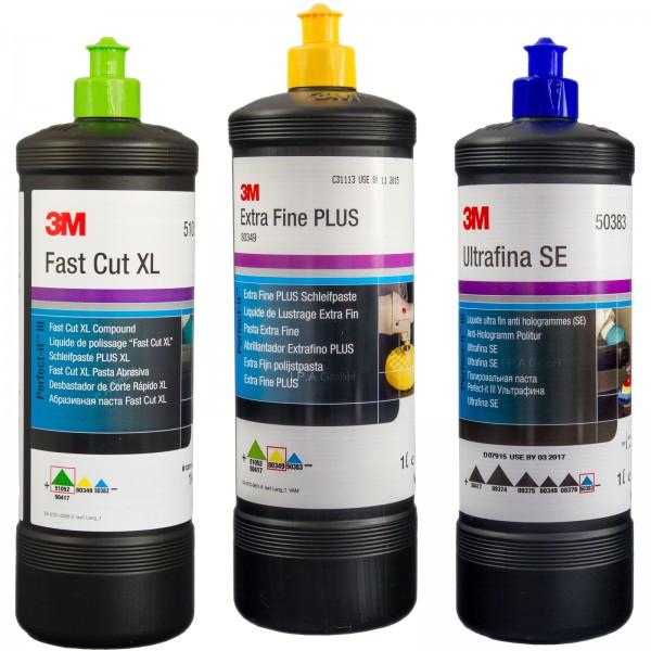 3M Politur Set Schleifpaste Plus XL Extra Fine Ultrafina SE 1Liter komplettes Polierset
