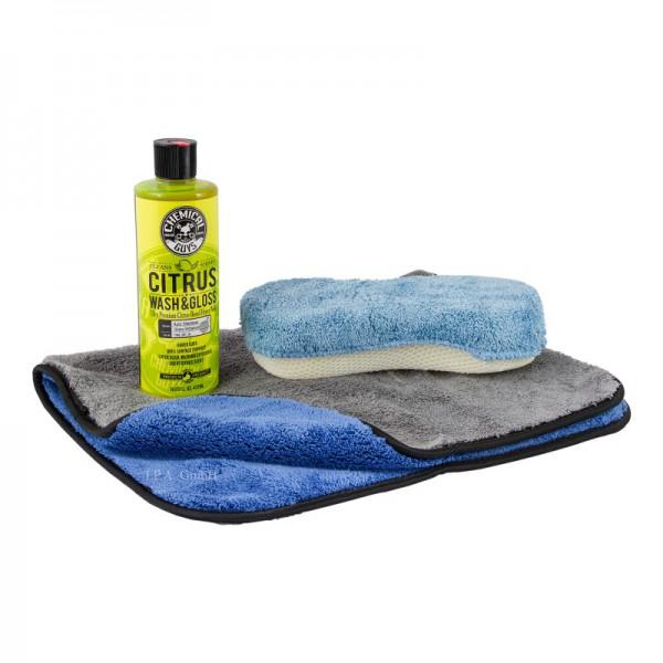 Chemical Guys Citrus Wash & Gloss Autoshampoo mit Waschschwamm und Poliertuch