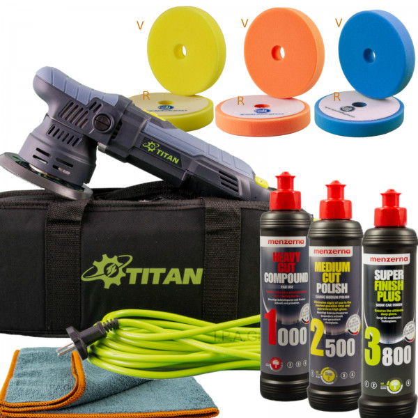 Titan TDA09 9mm Hub + Menzerna Politurset + PP Pads Einsteiger-Komplettset