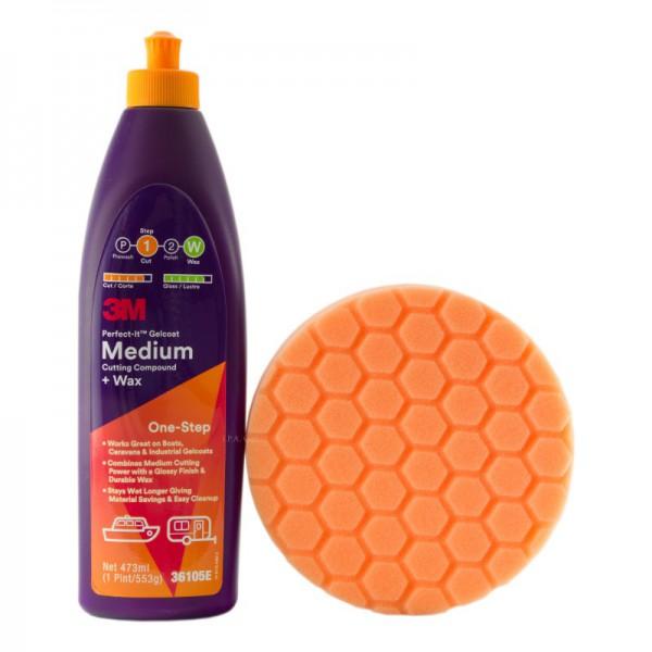3M Perfect-It Gelcoat Medium 36105E + Premium Hexagon Polierschwamm