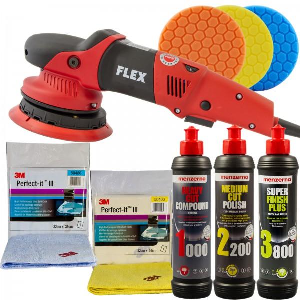 Flex Exzenter Poliermaschine XFE 7-15 150 | Set Menzerna Polituren | Pad | 3M Poliertücher