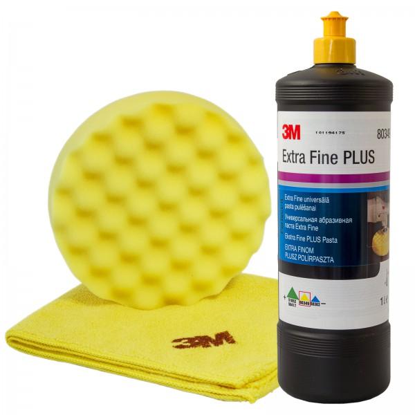 3M Extra Fine Schleifpaste 80349 1 Liter | Polierschwamm 50488 | Poliertuch 50400