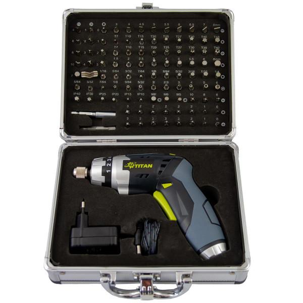 Titan Akku-Knickschrauber + 100 Bits + Koffer