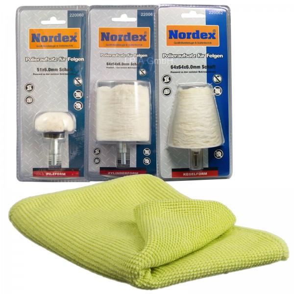 Nordex Polieraufsatz für Felgen im Kombipack mit Poliertuch
