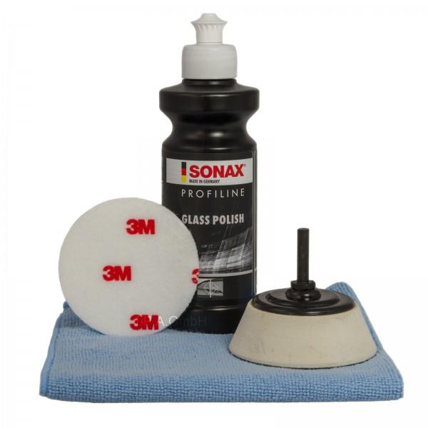 Set Sonax Glaspolitur, 3M Pad, Mikorfasertuch, 75mm Polierteller für Bohrmaschine und Akkus